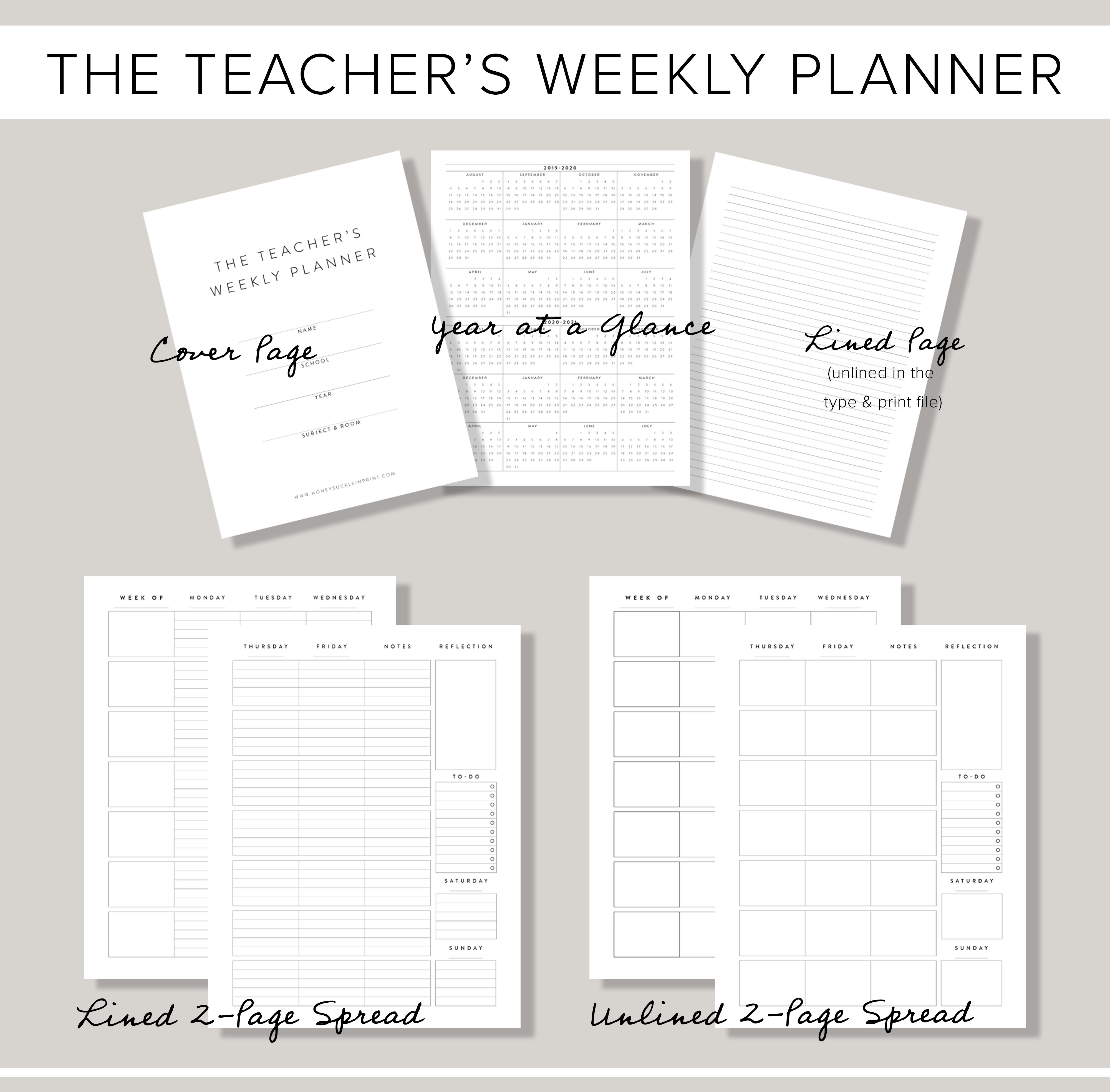 picture relating to Weekly Planner Printables referred to as Undated Printable Weekly Instructor Planner