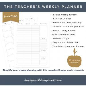 Miraculous Undated Printable Weekly Teacher Planner Home Remodeling Inspirations Gresiscottssportslandcom