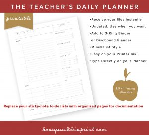 picture regarding Discbound Planner Pages Printable identified as Undated Printable Weekly Instructor Planner - Honeysuckle Inside of Print